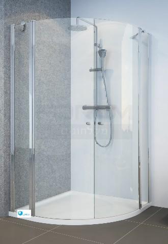 מקלחון פינתי מעוגל 2 קבועים ו2 דלתות ציר