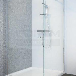 מקלחון פינתי דופן קבועה ודלת