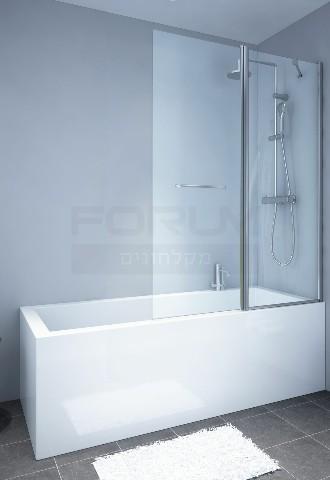 אמבטיון קבוע ודלת עם מתלה מגבת