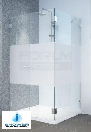 מקלחון פינתי 8ממ קיר צד וחזית 2 דלתות