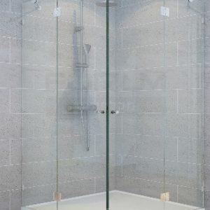 מקלחון פינתי 8ממ 2 קבועים ו2 דלתות