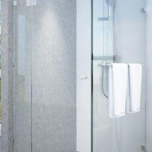 מקלחון פינתי 8ממ 2 קבועים ודלת
