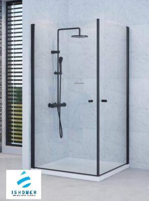 מקלחון פינתי 2 דלתות SelAqua שחור