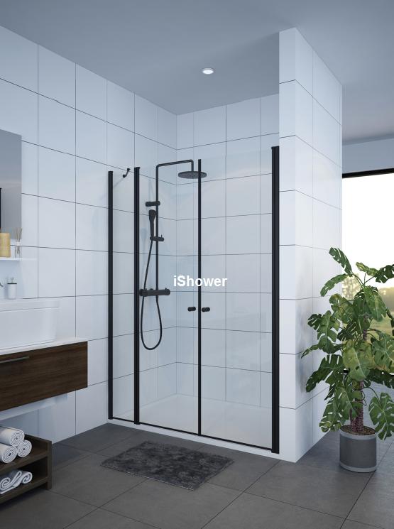 מקלחון חזית שחור דופן קבועה ו2 דלתות