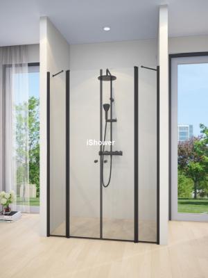 מקלחון חזיתי שחור 2 קבועים ו2 דלתות LIZI G