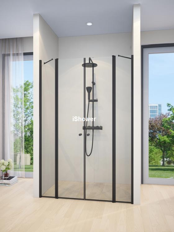 מקלחון חזית שחור 2 קבועים ו2 דלתות