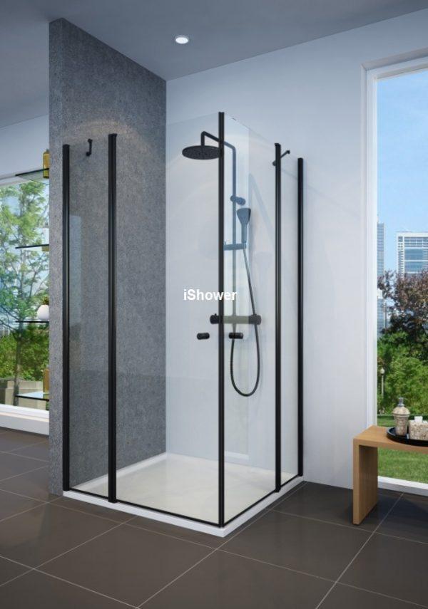 מקלחון פינתי שחור 2 קבועים ו2 דלתות בהתאמה אישית